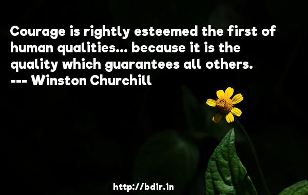 Courage is rightly esteemed the first of human qualities... because it is the quality which guarantees all others.  -   Winston Churchill     Quotes
