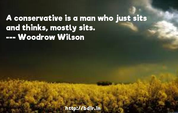 A conservative is a man who just sits and thinks, mostly sits.  -   Woodrow Wilson     Quotes