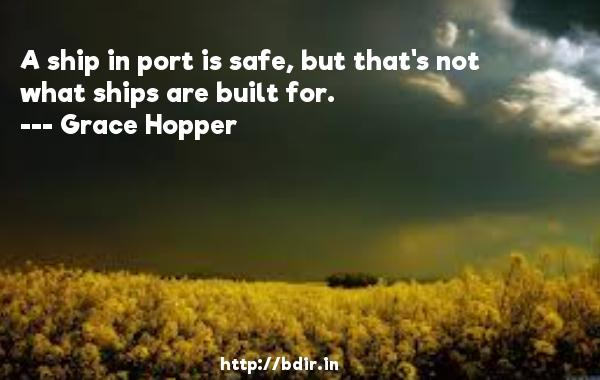 A ship in port is safe, but that's not what ships are built for.  -   Grace Hopper     Quotes