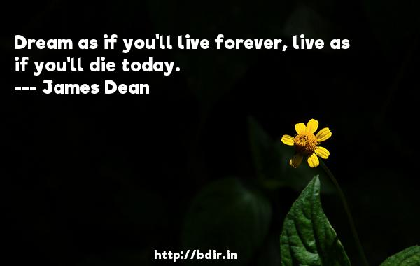 Dream as if you'll live forever, live as if you'll die today.  -   James Dean     Quotes