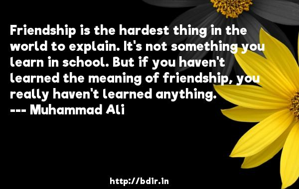 Friendship is the hardest thing in the world to explain. It's not something you learn in school. But if you haven't learned the meaning of friendship, you really haven't learned anything.  -   Muhammad Ali     Quotes