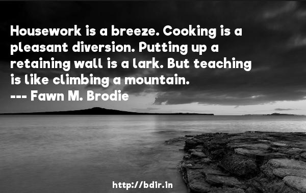Housework is a breeze. Cooking is a pleasant diversion. Putting up a retaining wall is a lark. But teaching is like climbing a mountain.  -   Fawn M. Brodie     Quotes