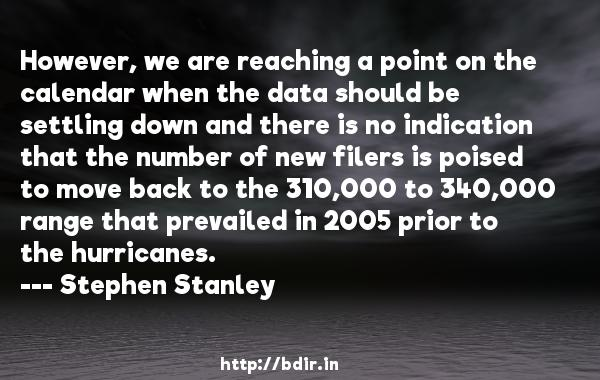 However, we are reaching a point on the calendar when the data should be settling down and there is no indication that the number of new filers is poised to move back to the 310,000 to 340,000 range that prevailed in 2005 prior to the hurricanes.  -   Stephen Stanley     Quotes