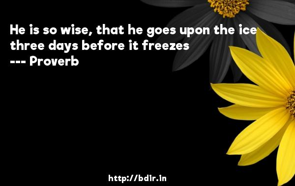 He is so wise, that he goes upon the ice three days before it freezes  -   Proverb      Quotes