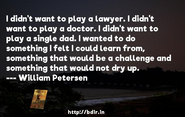 I didn't want to play a lawyer. I didn't want to play a doctor. I didn't want to play a single dad. I wanted to do something I felt I could learn from, something that would be a challenge and something that would not dry up.  -   William Petersen     Quotes
