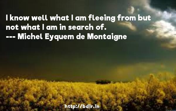 I know well what I am fleeing from but not what I am in search of.  -   Michel Eyquem de Montaigne     Quotes