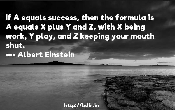 If A equals success, then the formula is A equals X plus Y and Z, with X being work, Y play, and Z keeping your mouth shut.  -   Albert Einstein     Quotes