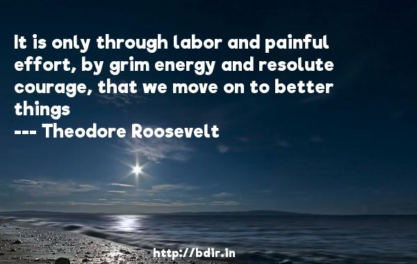 It is only through labor and painful effort, by grim energy and resolute courage, that we move on to better things  -   Theodore Roosevelt     Quotes
