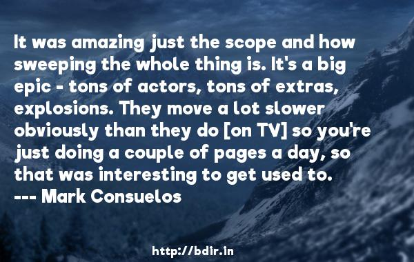 It was amazing just the scope and how sweeping the whole thing is. It's a big epic - tons of actors, tons of extras, explosions. They move a lot slower obviously than they do [on TV] so you're just doing a couple of pages a day, so that was interesting to get used to.  -   Mark Consuelos     Quotes
