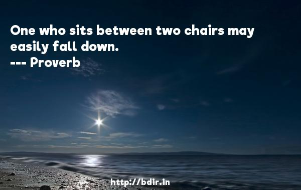 One who sits between two chairs may easily fall down.  -   Proverb      Quotes