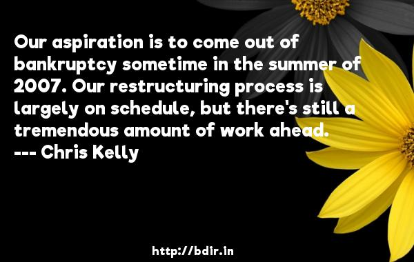 Our aspiration is to come out of bankruptcy sometime in the summer of 2007. Our restructuring process is largely on schedule, but there's still a tremendous amount of work ahead.  -   Chris Kelly     Quotes