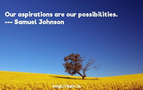 Our aspirations are our possibilities.  -   Samuel Johnson     Quotes