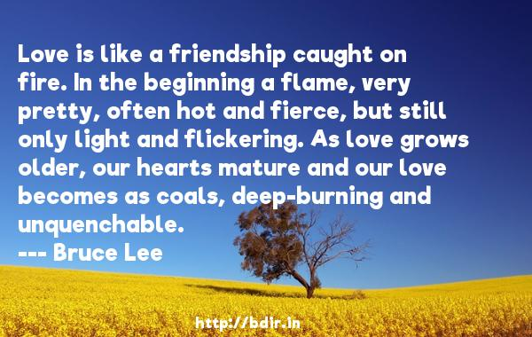 Love is like a friendship caught on fire. In the beginning a flame, very pretty, often hot and fierce, but still only light and flickering. As love grows older, our hearts mature and our love becomes as coals, deep-burning and unquenchable.  -   Bruce Lee     Quotes