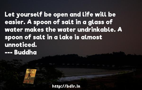 Let yourself be open and life will be easier. A spoon of salt in a glass of water makes the water undrinkable. A spoon of salt in a lake is almost unnoticed.  -    Buddha     Quotes