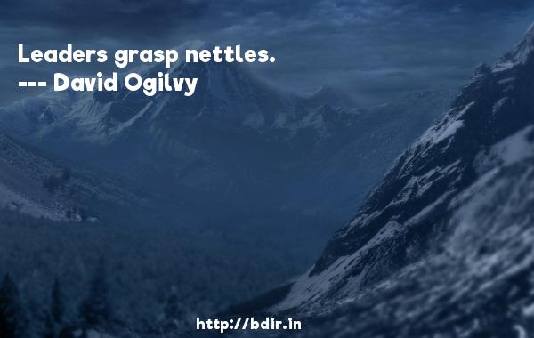 Leaders grasp nettles.  -   David Ogilvy     Quotes