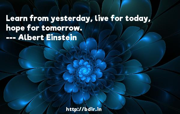 Learn from yesterday, live for today, hope for tomorrow.  -   Albert Einstein     Quotes