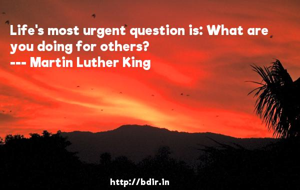 Life's most urgent question is: What are you doing for others?  -   Martin Luther King     Quotes