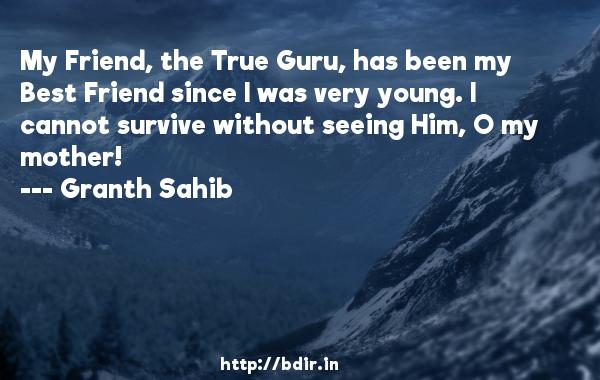 My Friend, the True Guru, has been my Best Friend since I was very young. I cannot survive without seeing Him, O my mother!  -   Granth Sahib     Quotes