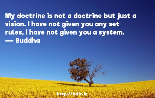 My doctrine is not a doctrine but just a vision. I have not given you any set rules, I have not given you a system.  -    Buddha     Quotes