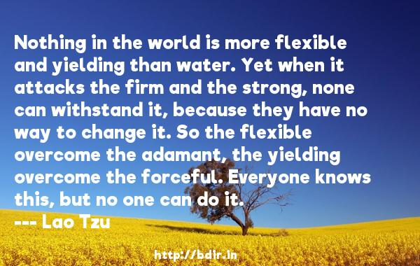 Nothing in the world is more flexible and yielding than water. Yet when it attacks the firm and the strong, none can withstand it, because they have no way to change it. So the flexible overcome the adamant, the yielding overcome the forceful. Everyone knows this, but no one can do it.  -   Lao Tzu     Quotes