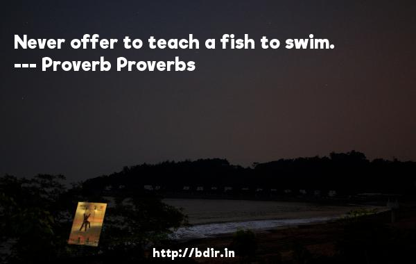 Never offer to teach a fish to swim.  -   Proverb Proverbs     Quotes