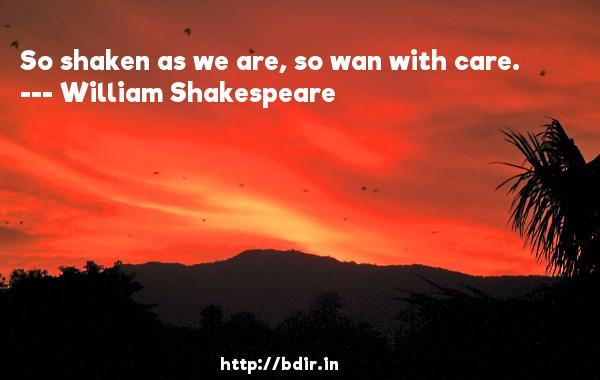 So shaken as we are, so wan with care.  -   William Shakespeare     Quotes
