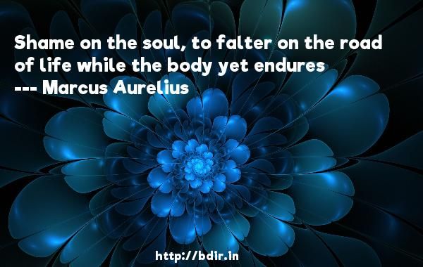Shame on the soul, to falter on the road of life while the body yet endures  -   Marcus Aurelius     Quotes