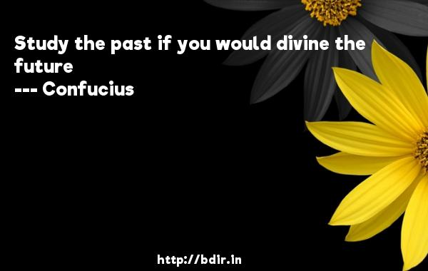 Study the past if you would divine the future  -    Confucius     Quotes