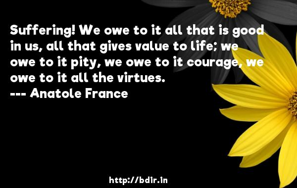 Suffering! We owe to it all that is good in us, all that gives value to life; we owe to it pity, we owe to it courage, we owe to it all the virtues.  -   Anatole France     Quotes