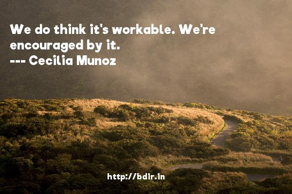 We do think it's workable. We're encouraged by it.  -   Cecilia Munoz     Quotes