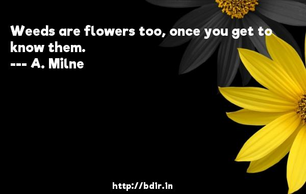 Weeds are flowers too, once you get to know them.  -   A. Milne     Quotes