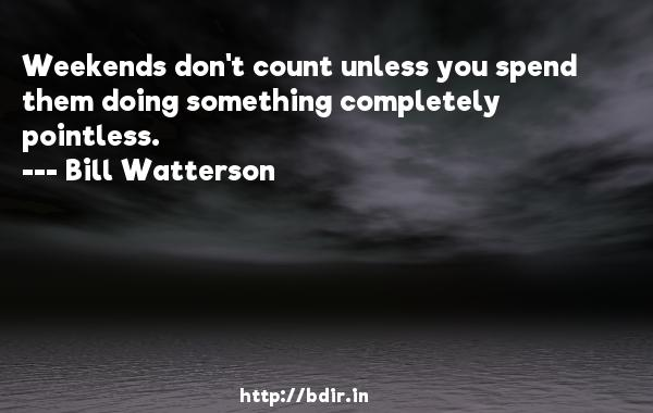 Weekends don't count unless you spend them doing something completely pointless.  -   Bill Watterson     Quotes