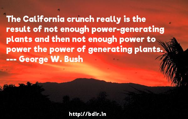 The California crunch really is the result of not enough power-generating plants and then not enough power to power the power of generating plants.  -   George W. Bush     Quotes