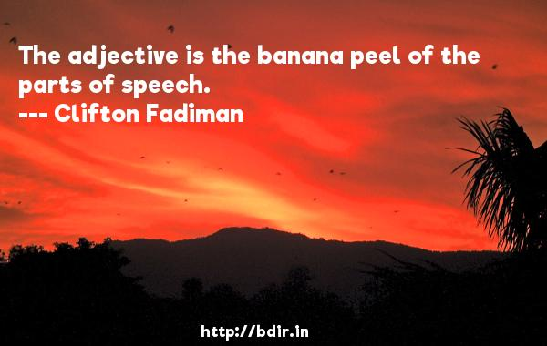 The adjective is the banana peel of the parts of speech.  -   Clifton Fadiman     Quotes