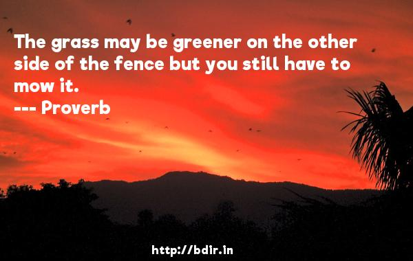 The grass may be greener on the other side of the fence but you still have to mow it.  -   Proverb      Quotes