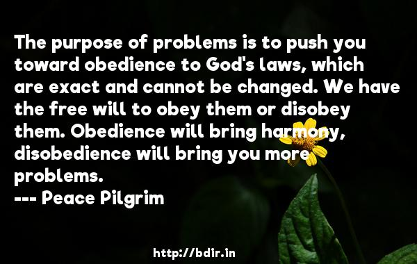 The purpose of problems is to push you toward obedience to God's laws, which are exact and cannot be changed. We have the free will to obey them or disobey them. Obedience will bring harmony, disobedience will bring you more problems.  -   Peace Pilgrim     Quotes