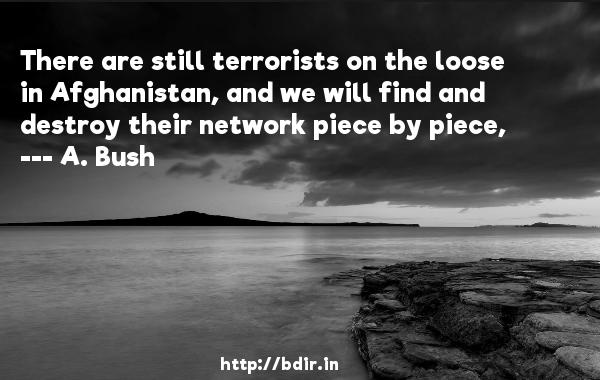 There are still terrorists on the loose in Afghanistan, and we will find and destroy their network piece by piece,  -   A. Bush     Quotes