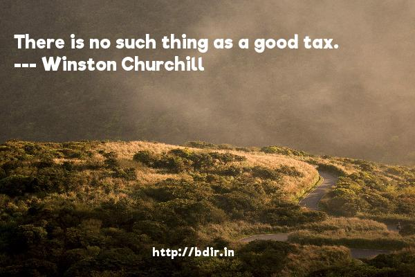 There is no such thing as a good tax.  -   Winston Churchill     Quotes