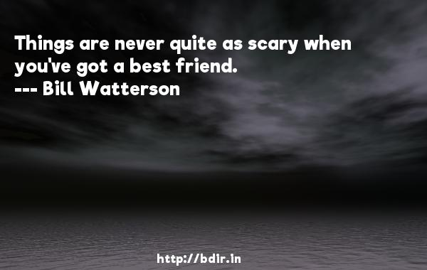 Things are never quite as scary when you've got a best friend.  -   Bill Watterson     Quotes