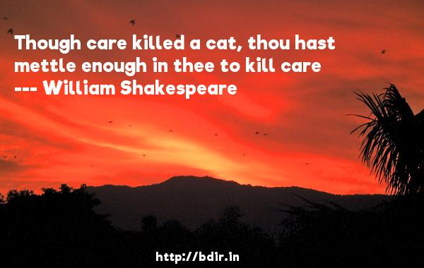 Though care killed a cat, thou hast mettle enough in thee to kill care  -   William Shakespeare     Quotes