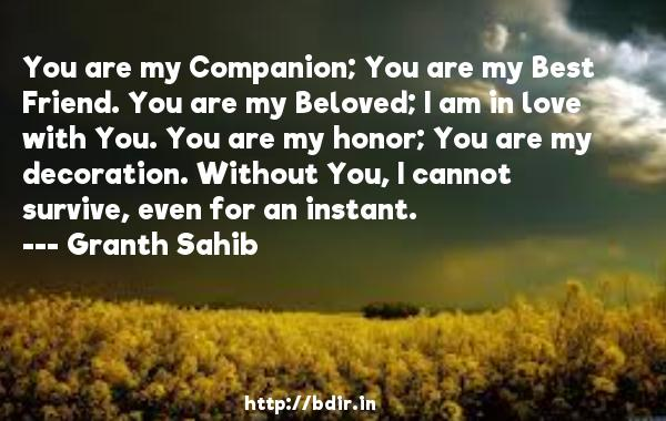 You are my Companion; You are my Best Friend. You are my Beloved; I am in love with You. You are my honor; You are my decoration. Without You, I cannot survive, even for an instant.  -   Granth Sahib     Quotes