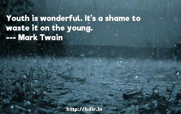 Youth is wonderful. It's a shame to waste it on the young.  -   Mark Twain     Quotes